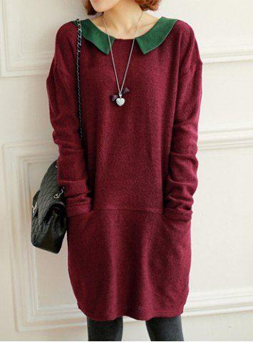 3d62acf2b58 Long Sleeve Round Collar Color Block Polka Dot Print Women s Knitted ...
