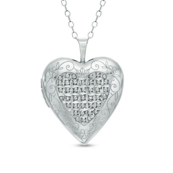 Zales Diamond Fascination Heart with Scroll Design Locket in Sterling Silver with Platinum Plate B2iBNl