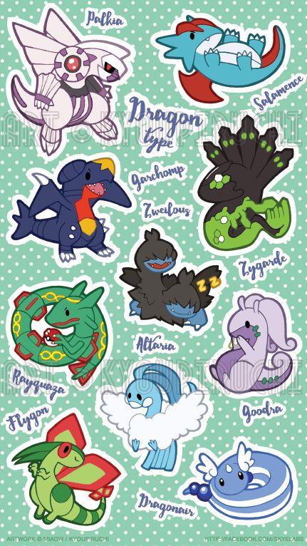 pokemon dragon type sticker sheet pinterest fotos de pokemon