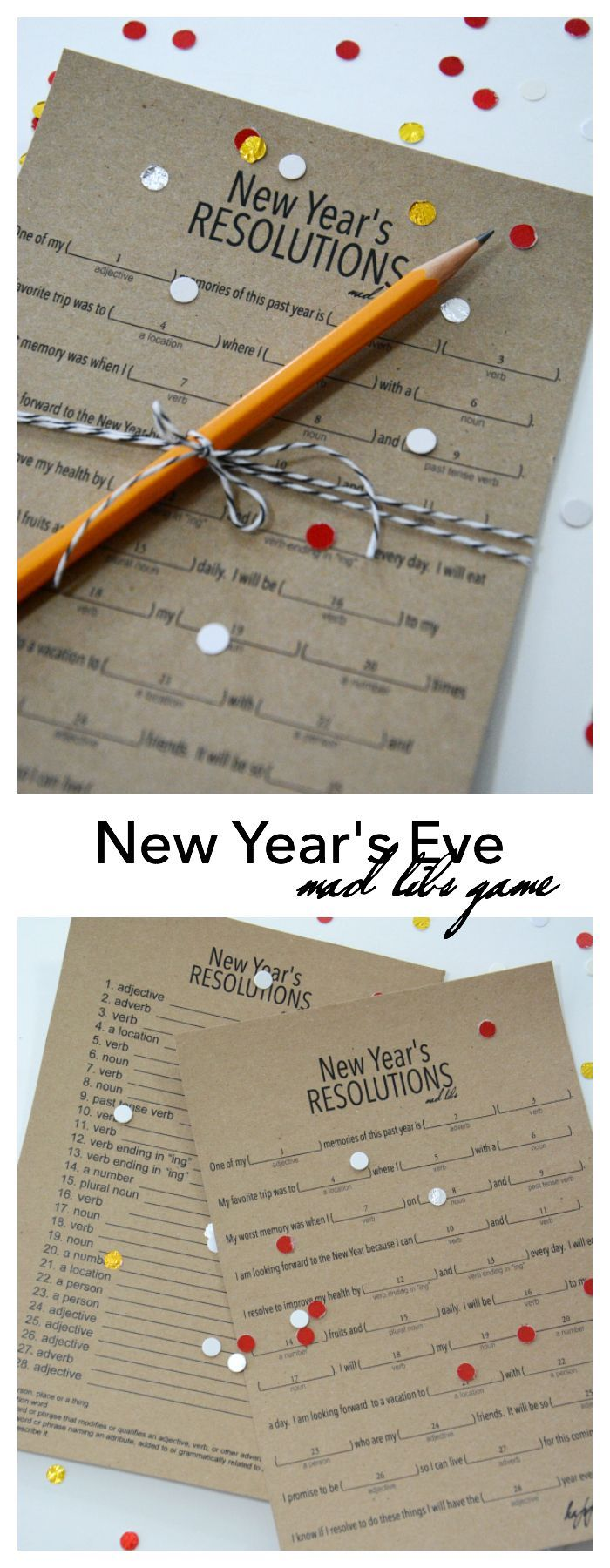 New Years Eve Resolutions Game