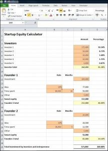 Startup Equity Calculator Plan Projections Start Up Business Valuation Equity