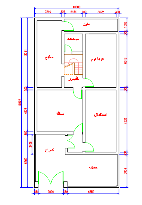 مخطط منزل مساحة الأرض 200 متر مربع 10 20 متر Planned Home Land Of 200 Square Meters Area Of 10 20 Meters Square House Plans My House Plans House Map
