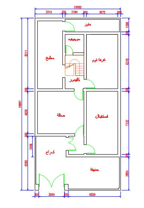 مخطط منزل مساحة الأرض 200 متر مربع 10 20 متر Planned Home
