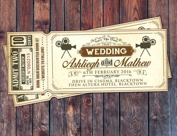 Art DecoVintage Retro Save the Date Ticket Announcement, invitation, wedding shower, old Hollywood , Cinema, retro cinema ticket