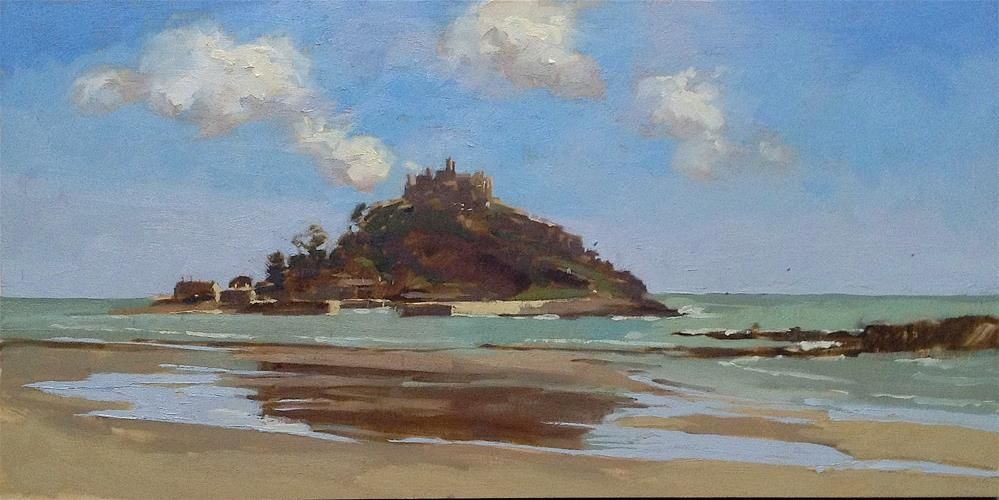 """St Michael's mount, from Marazion"" original fine art by Haidee-Jo Summers"