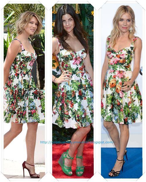 4ffe445d539 Un vestido floreado de Dolce   Gabbana lo llevo primero Lea Seydoux en  Cannes  a Julia Restoin-Roitfeld en el Veuve Clicquot Polo Classic  y  Sienna Miller ...