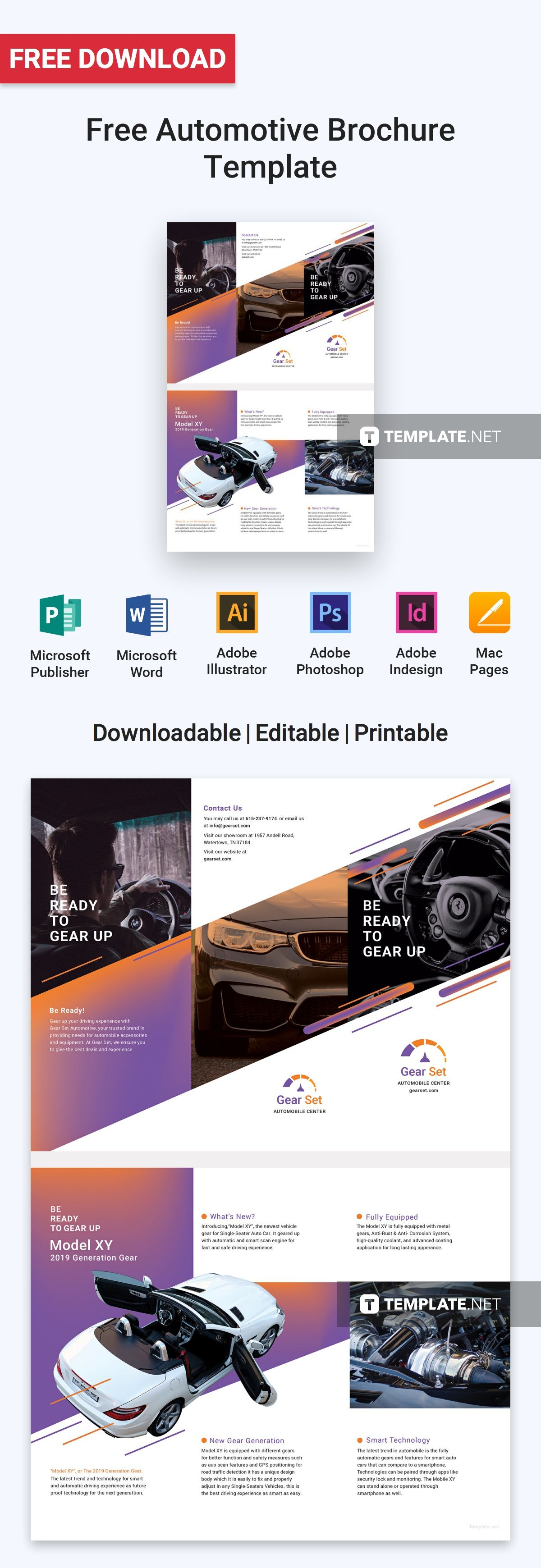 Microsoft Brochure Templates Free Download Mesmerizing Free Automotive Brochure  Pinterest  Brochure Template Brochures .
