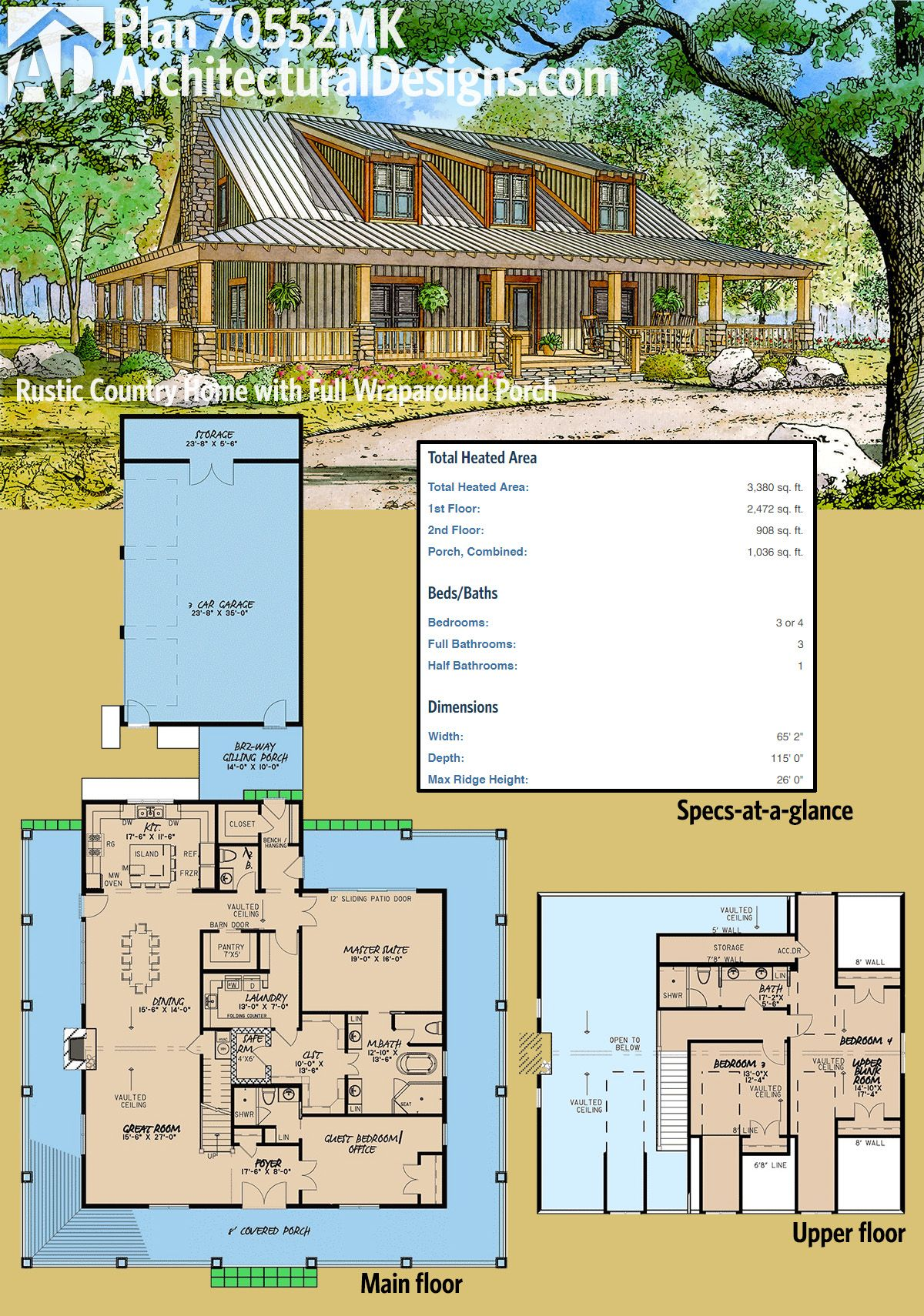 Architectural designs rustic country home plan 70552mk has a full wraparound porch and a bunk room upstairs over 3300 square feet of heated living space