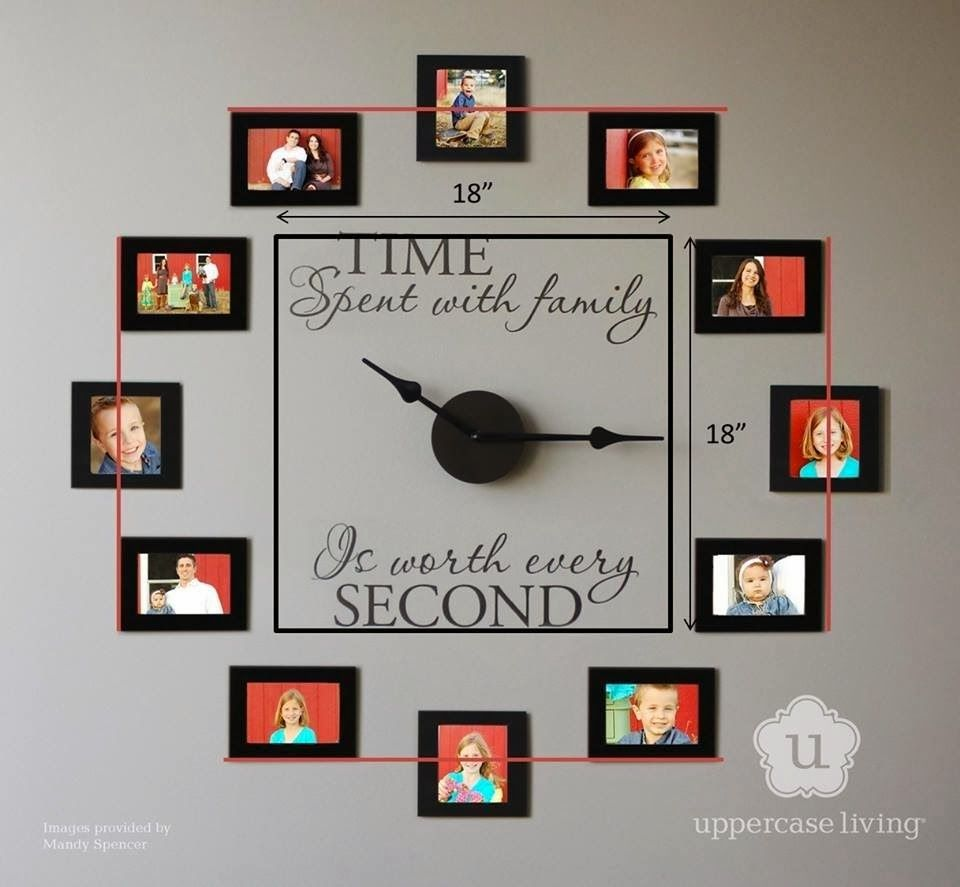 Impressive Wall Clock With Family Photos  Photo Clock Wall Alluring Small Wall Clock For Bathroom Design Decoration