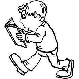 Boy Walking And Reading Book Coloring Sheet Coloring Books Books To Read Boy Walking