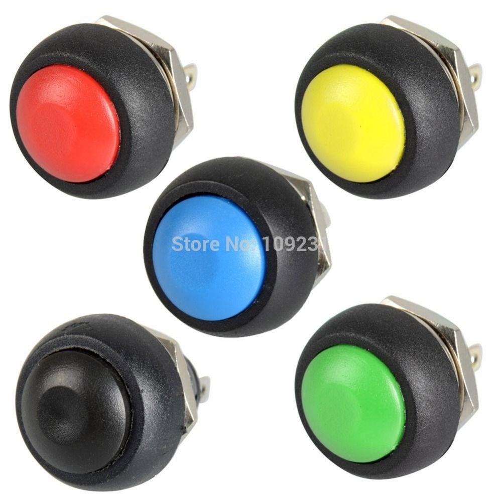 A13 5ピース/ロット黒/赤/緑/黄/青12ミリメートル防水モメンタリ押しボタンスイッチVE059 p