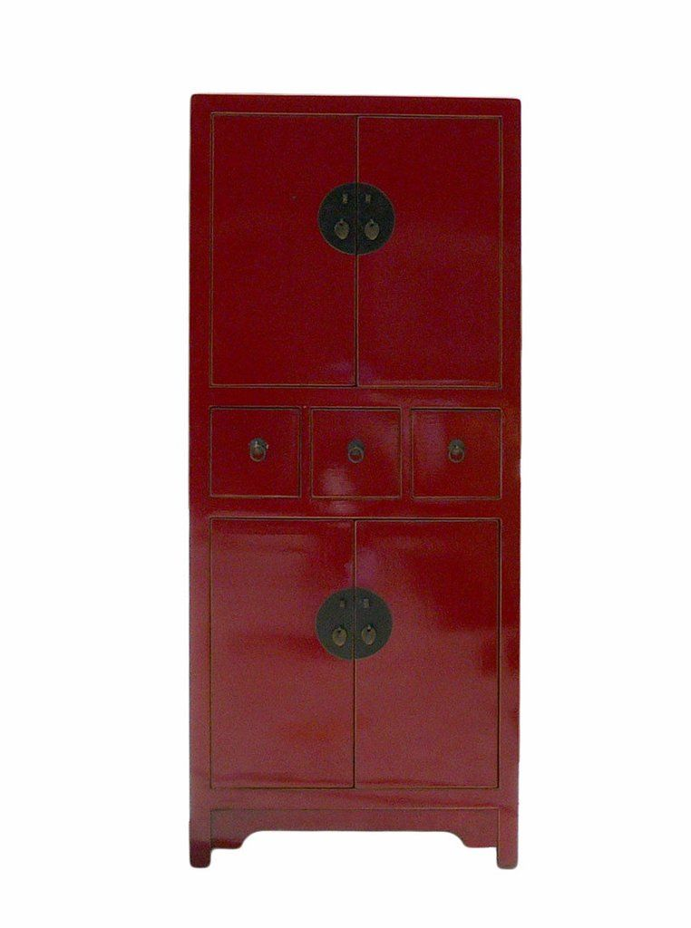 Chinese Red Lacquer Narrow Mid Size Storage Cabinet Cs889s With