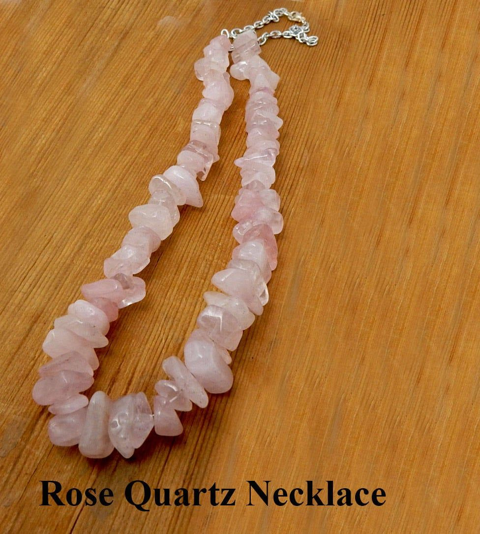 Rose Quartz Necklace. Small chips of rose quartz strung on tiger tail wire. Gift for her. Birthday gift. Friendship gift. Handcrafted
