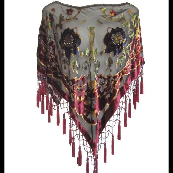 Silk Poncho Floral Shawl Wrap Beaded Embroidery NWT