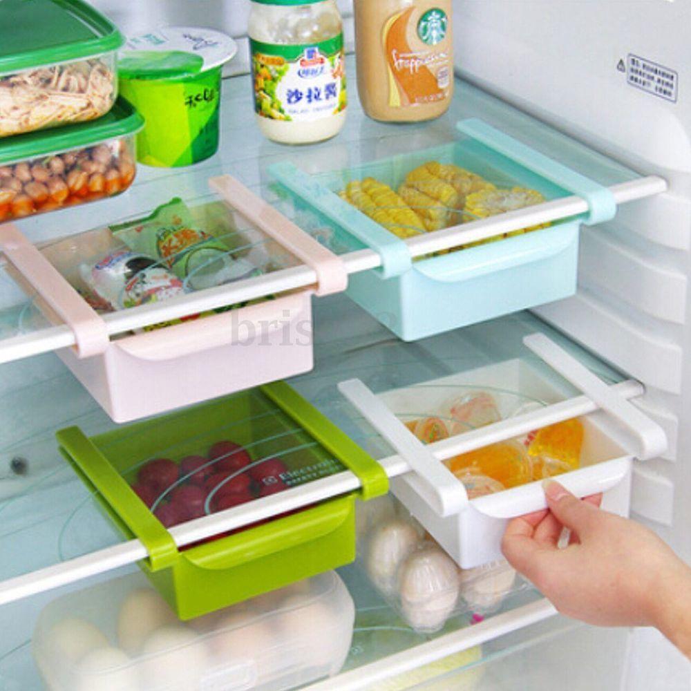 Slide Kitchen Fridge Freezer Space Saver Organizer Storage Rack