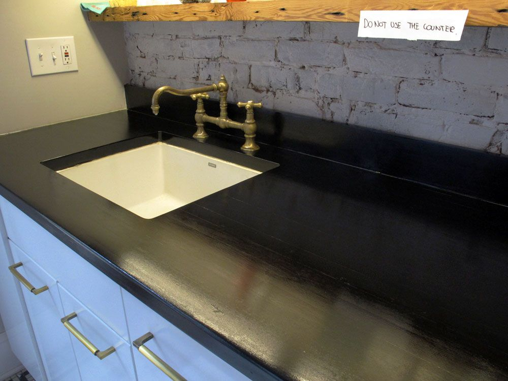 Butcherblock Countertop Stained Black With India Ink And Sealed I Would Use Tung Oil Instead Of Waterlox Though For The First Floor When Gut That