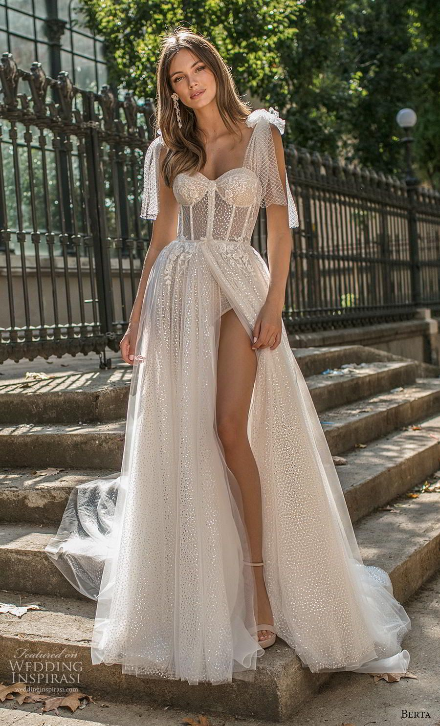 0f50da38ca631 berta fall 2019 muse bridal ribbon strap sweetheart neckline heavily  embellished bodice bustier slit skirt romantic