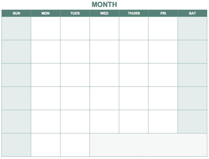 Free Blank Calendar Templates  Smartsheet  Templates