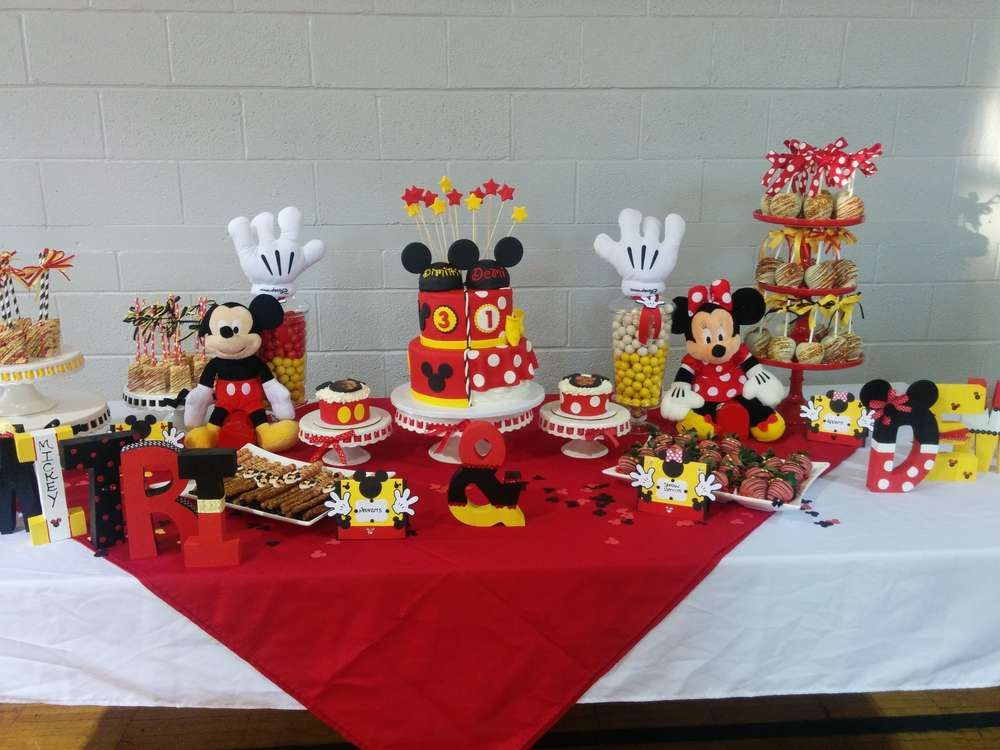 Red Black And Yellow Mickey Minnie Mouse Birthday Party See