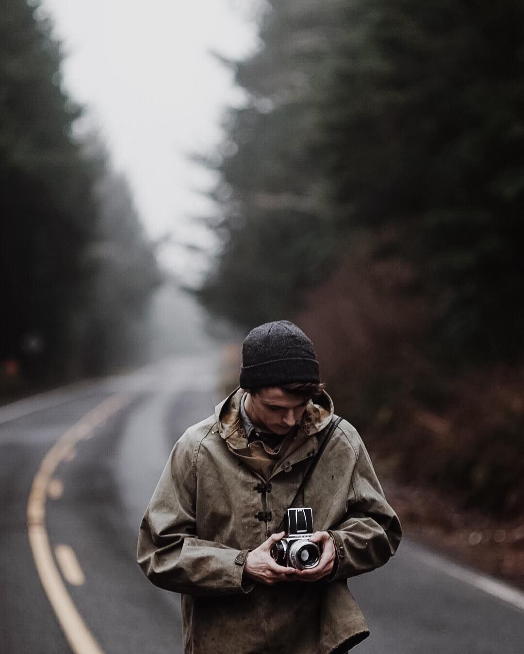 """""""Portrait of @burtoo taken on a 105mm Pentax lens, the road from Cape Lookout.  Ran through several rolls of 120 and 35, damn good day! How was your day?…"""""""