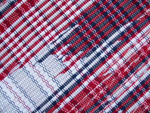 red white and blue rug cotton rag rug loom woven recycled materials americana weaving. Black Bedroom Furniture Sets. Home Design Ideas