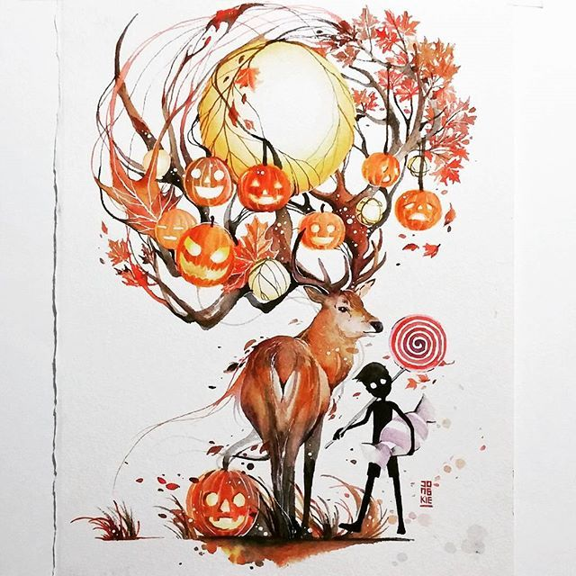 Sweet Autumn Watercolour On Arches Watercolour Paper Size 28x38