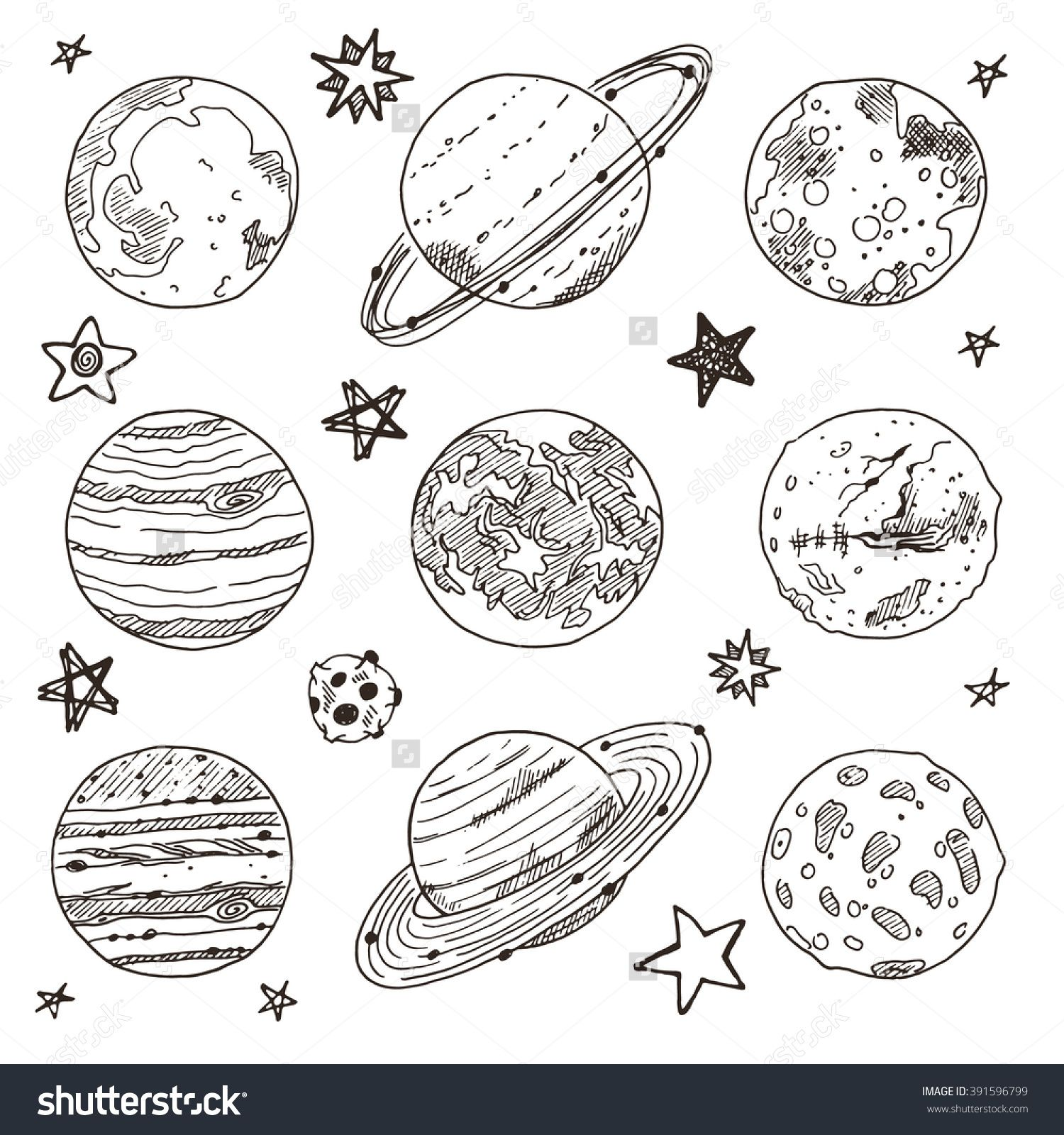 Planet vector space drawings science illustration hand illustration space planets cosmos