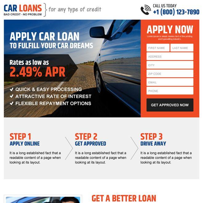 Professional And Clean Car Loan Online Application Lead Gen