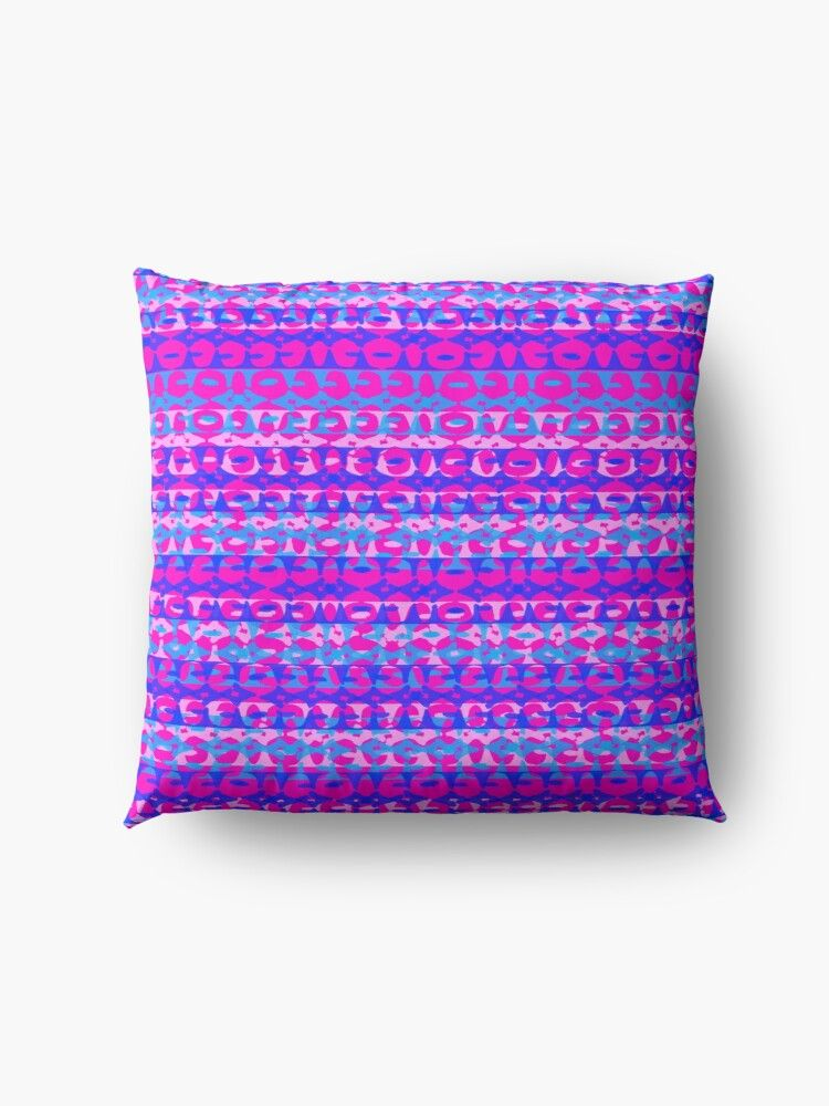 bright abstract horizontal shapes pattern in pink, blue and navy design Floor Pillow