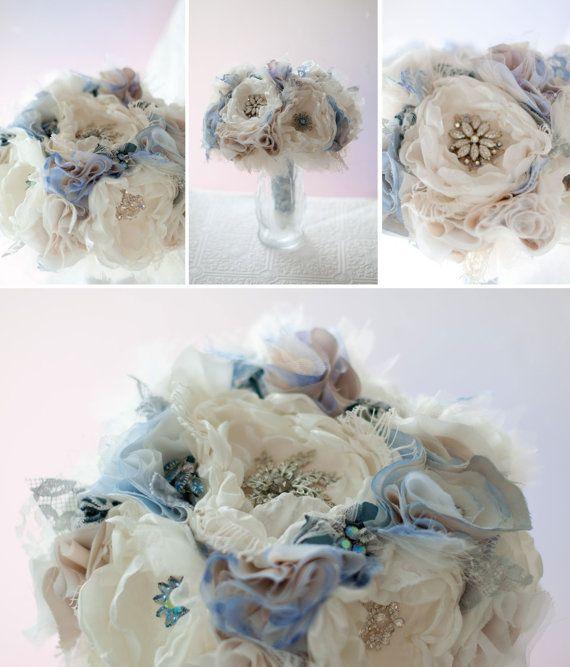Fabric Flower Wedding Bouquet Bridal Brooch Bouquet by Cultivar ...