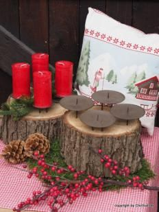 Adventskranz Klotz mit Kerzentellern #adventskranzaufbaumscheibe