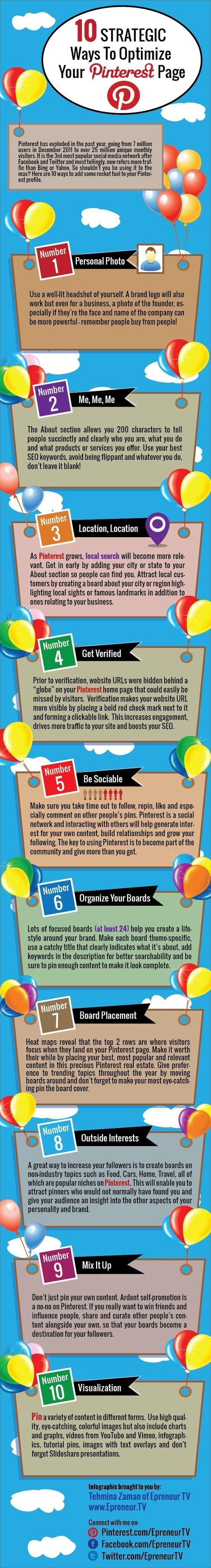 ▶◀の☀ Optimize Your #Pinterest Profile - good information for beginners