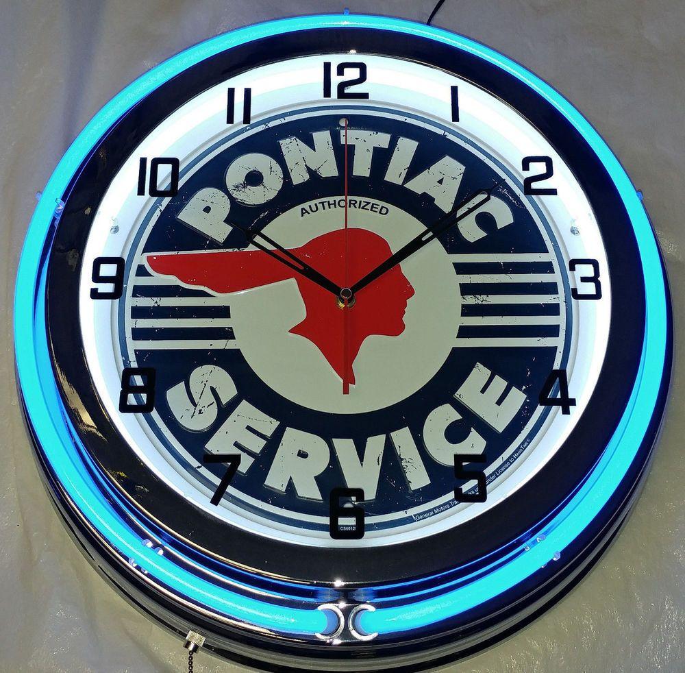 Pontiac Service Vintage Look 19 Blue Neon Clock Mancave Garage Chrome Finish Pontiac Neon Clock Pontiac Clock