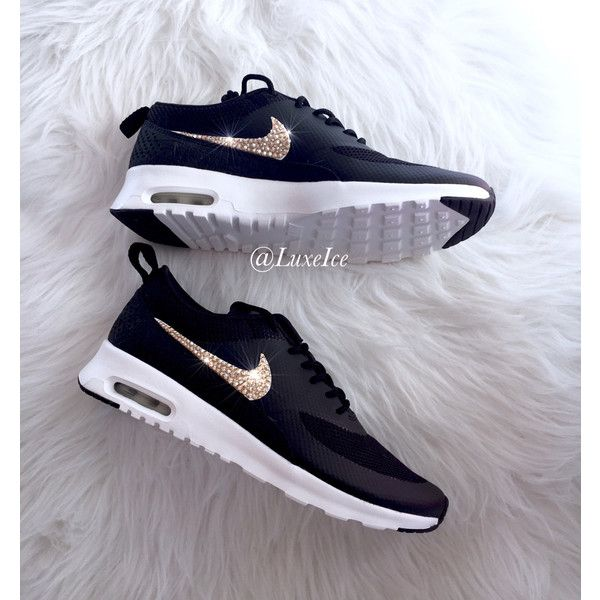 Nike Air Max Thea black anthracite white wolf Grey With Gold Swarovski...  ( 145) ❤ liked on Polyvore featuring shoes 111ba564fe