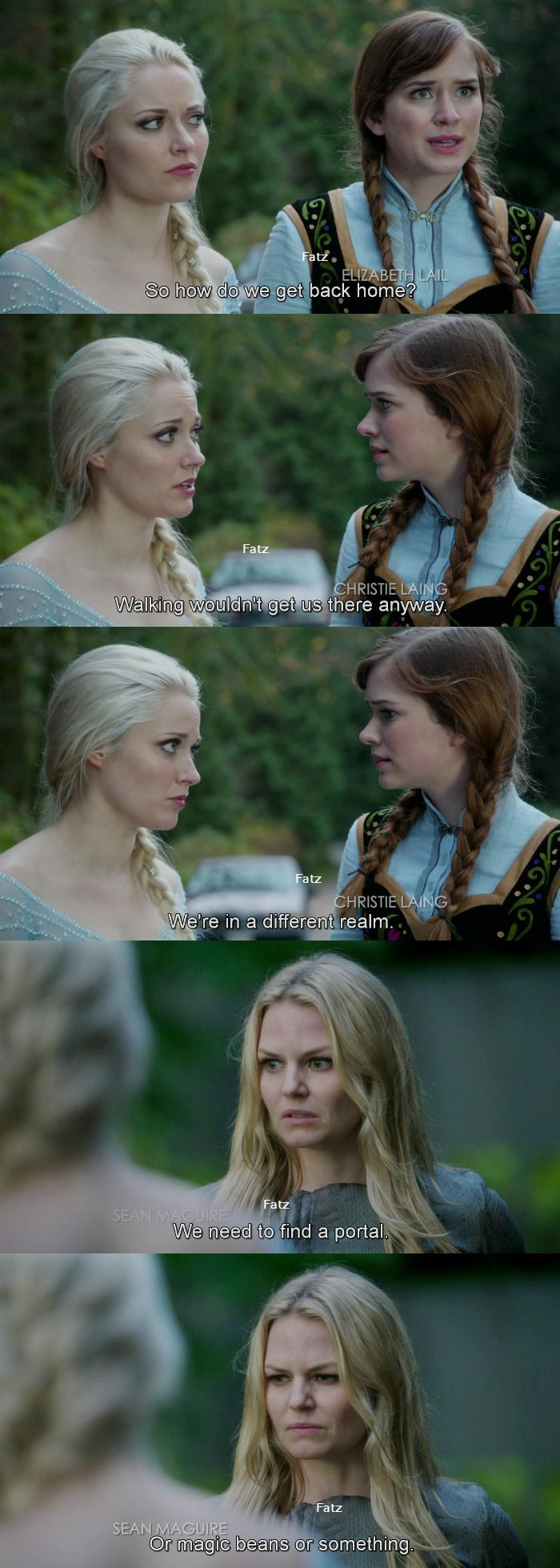 """""""How do we get back home?"""" Anna, """"Walking wouldn't get us there anyway."""" Elsa and Emma - 4 * 11 """"Heroes and Villains"""""""