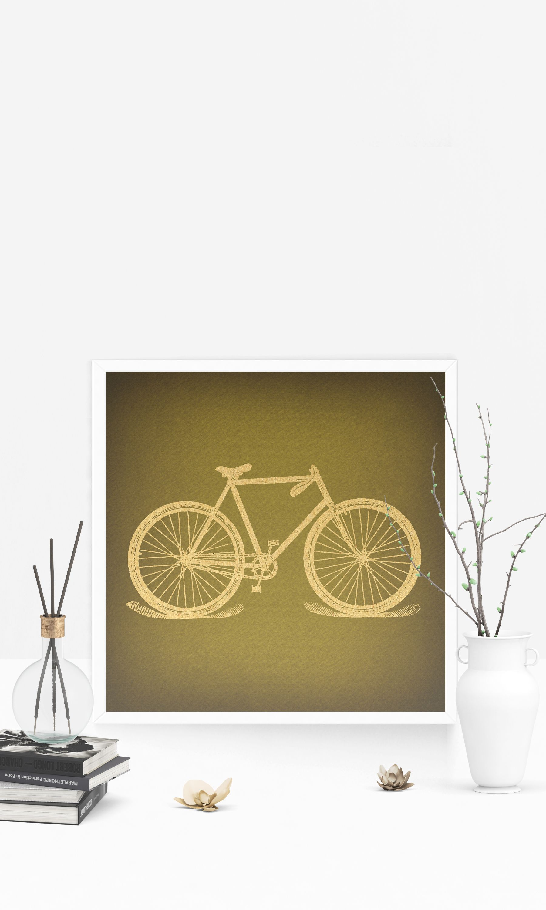 Classic Retro Bicycle Print for Wall Art & Home Decoration ...