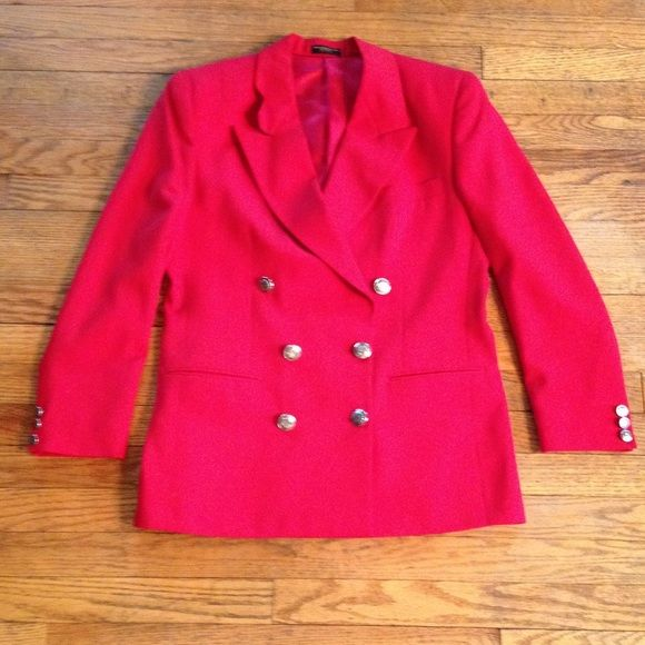 Classic red wool blazer Double breasted with silver buttons. Wool, dry clean recommended. Functioning front pockets. Has shoulder pads no size but I would say fits a 6 perfect can be a medium. Jackets & Coats Blazers