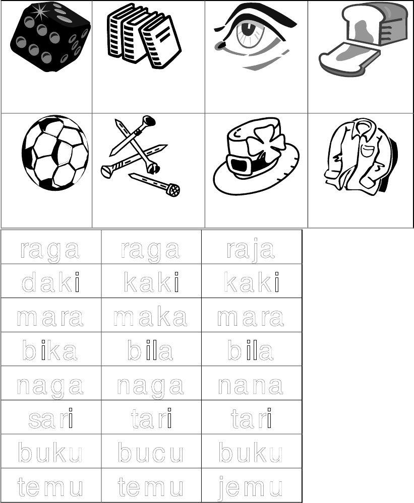 Latihan Sukukata Kvkv Cards Playing Cards Documents