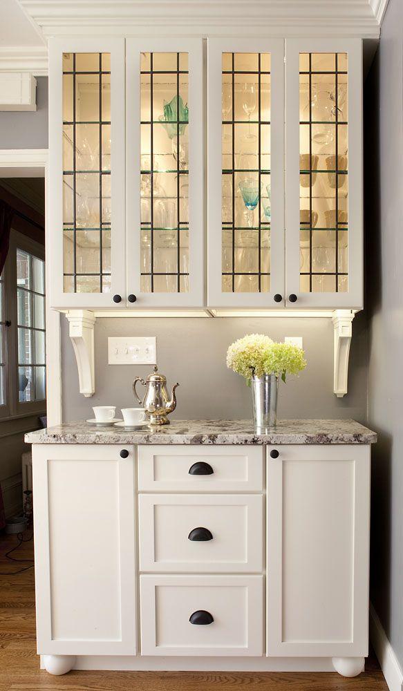 Holiday Cabinets In Ivory, Custom German Art Glass, Alaska White Granite,  Black Hardware