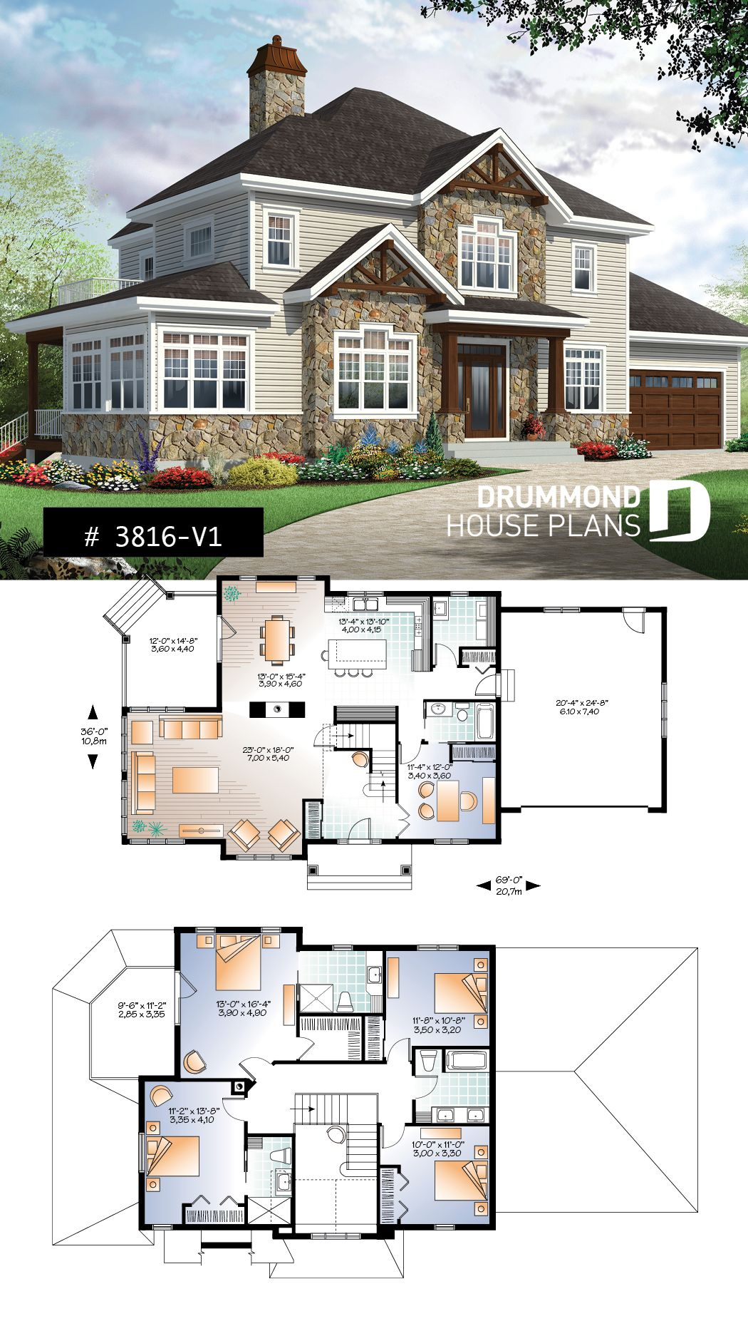 Two master suites Craftsman house plan, 4 bedrooms, 4 bathrooms, home office, solarium, fireplace #houseideas
