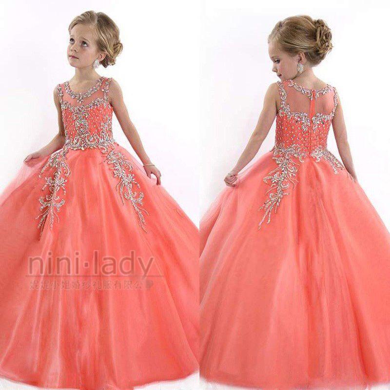 7e1c96d200ca6 Orange Robe DE Communion Princesse Fille Mariage Robe Demoiselle D Honneur