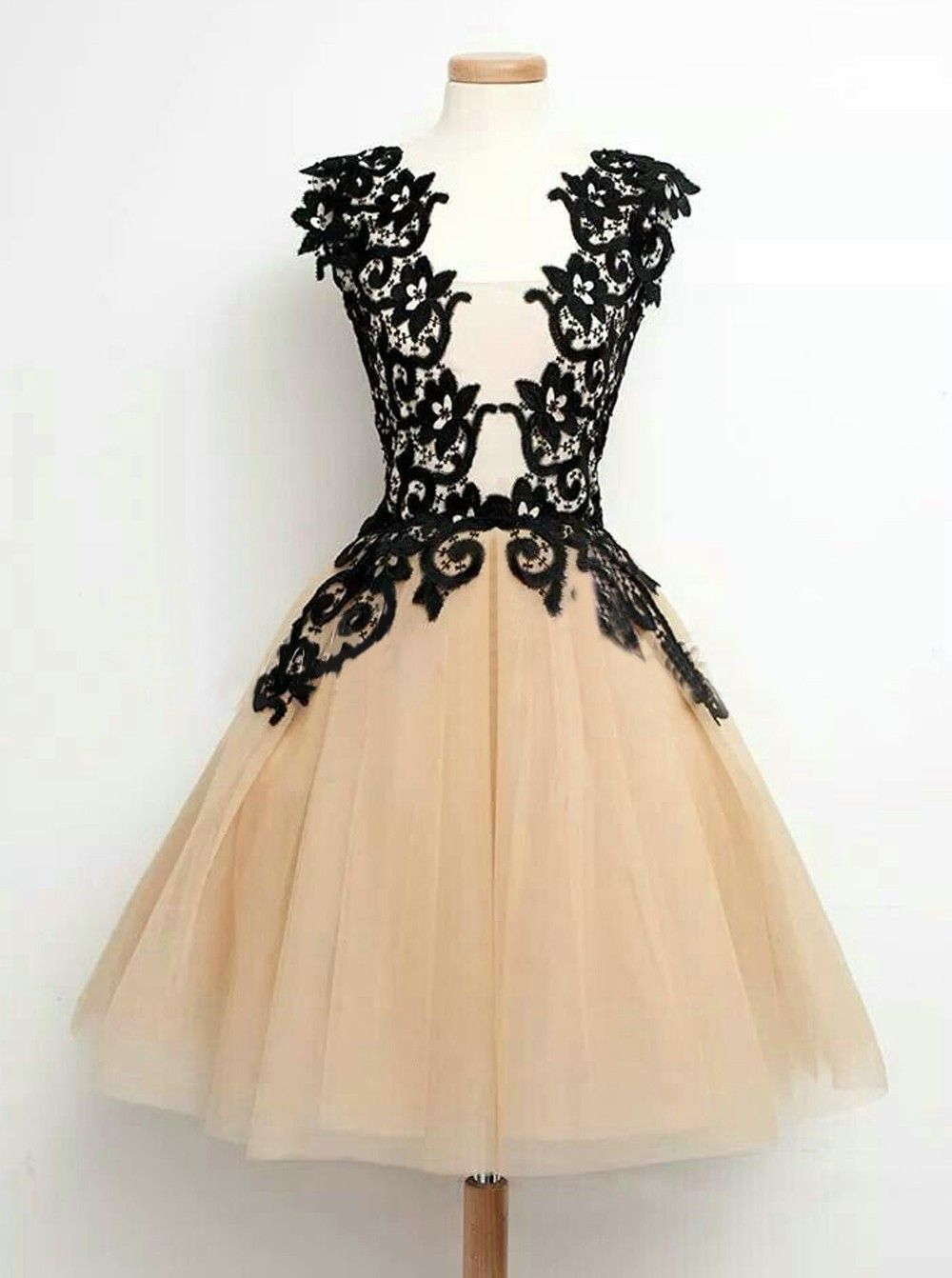 Elegant scoop midcalf champagne homecomingparty dress with black