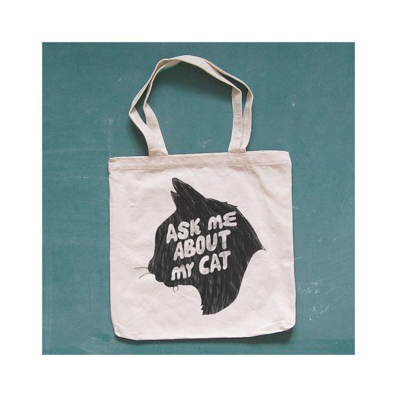 ASK ME ABOUT My Cat canvas tote. kitty. natural. by kinshipgoods, $14.00