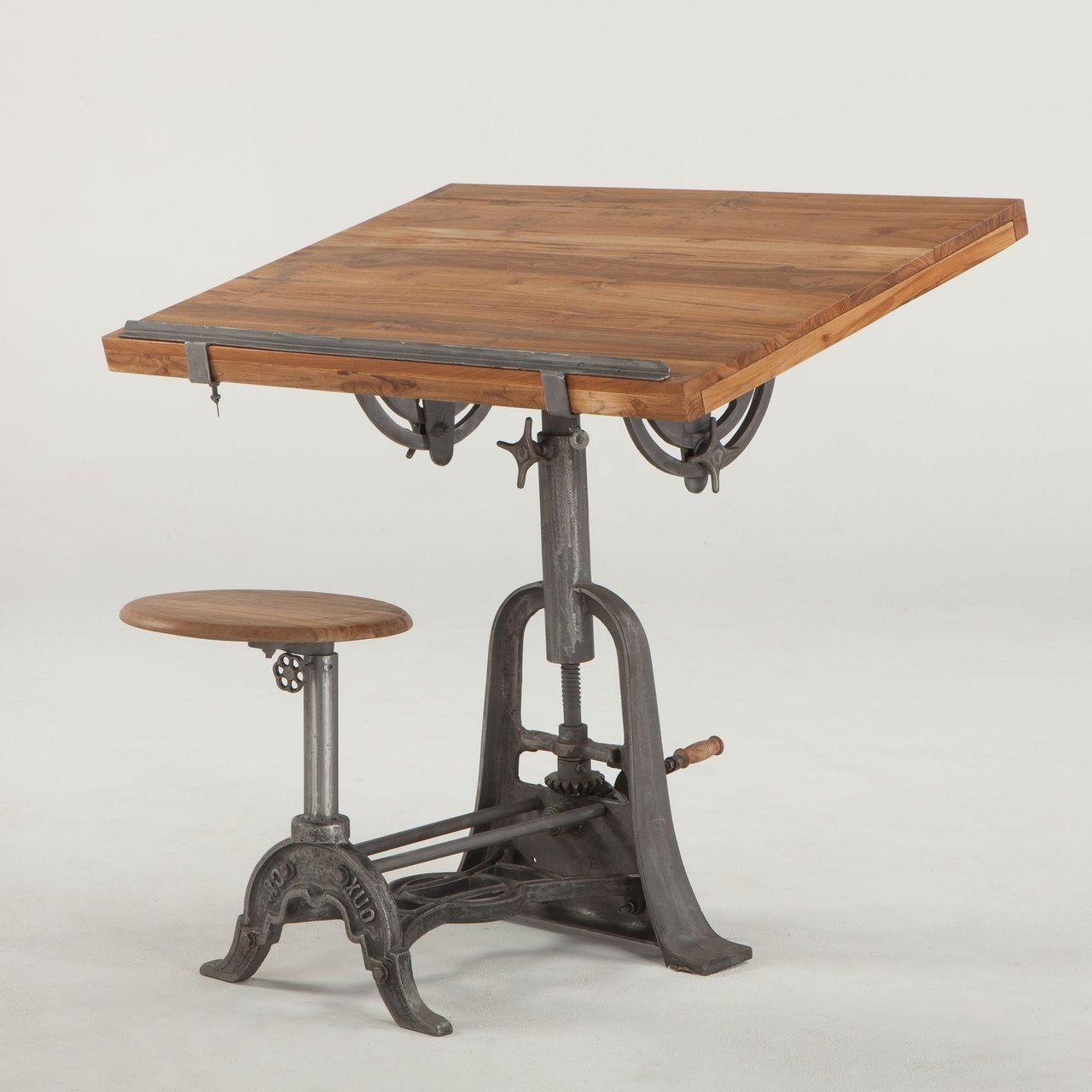 """39"""" L Draft Table Adjustable Height Stool Iron Teak Wood"""