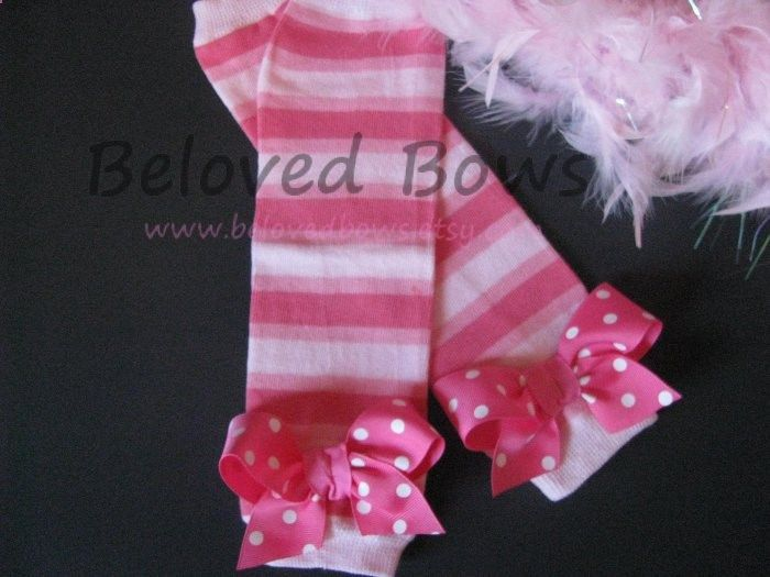 Pink on Pink Striped Bow Leg Warmers for Baby Toddler and Tween. $10.50, via Etsy.