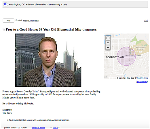 The Jews Try To Give Away Max Blumenthal On Craigslist Max Jews