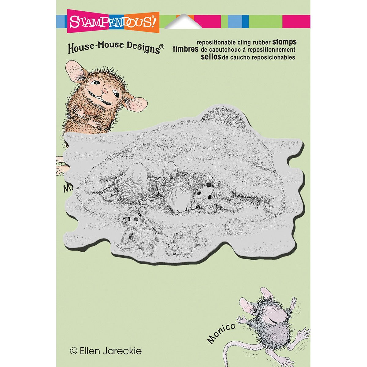"""Stampendous House Mouse Cling Stamp 6.5""""x4.5"""" - Snow Cap Nap"""