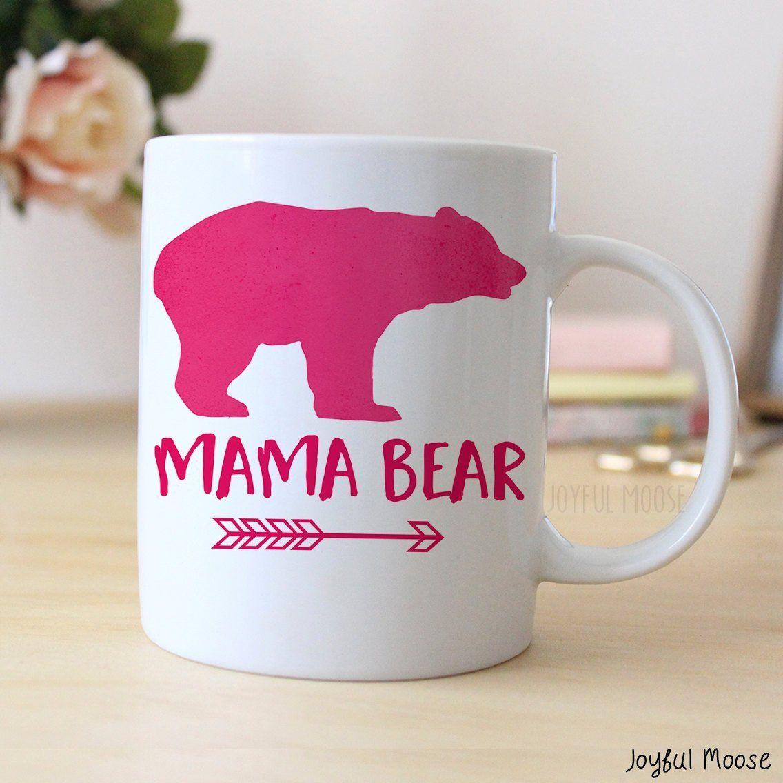 Pink Coffee Mug Watercolor Mama Bear Mug Gift for New Mom Bears