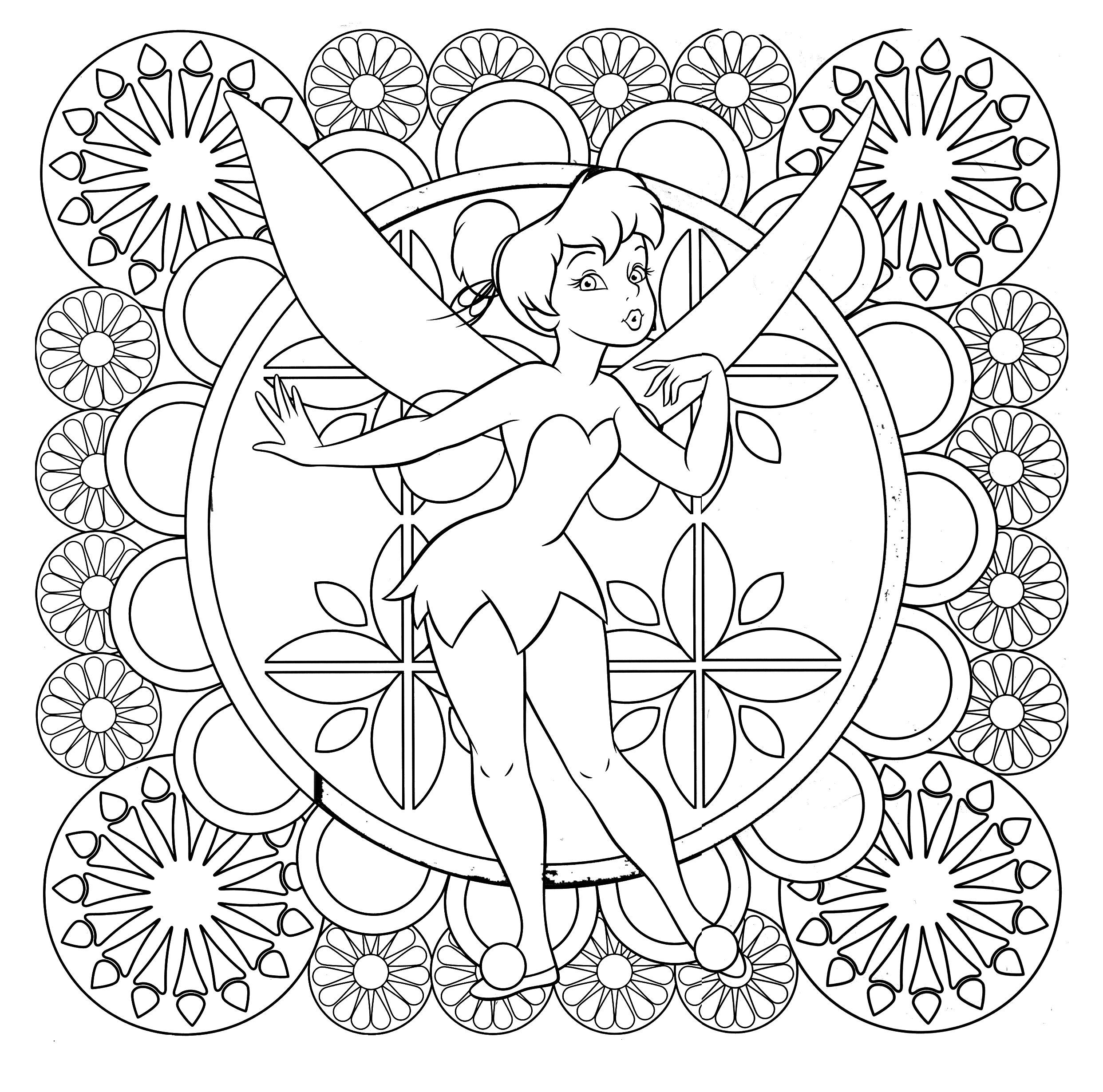 Tinkerbell Difficult Coloring Page Malvorlagen Pinterest