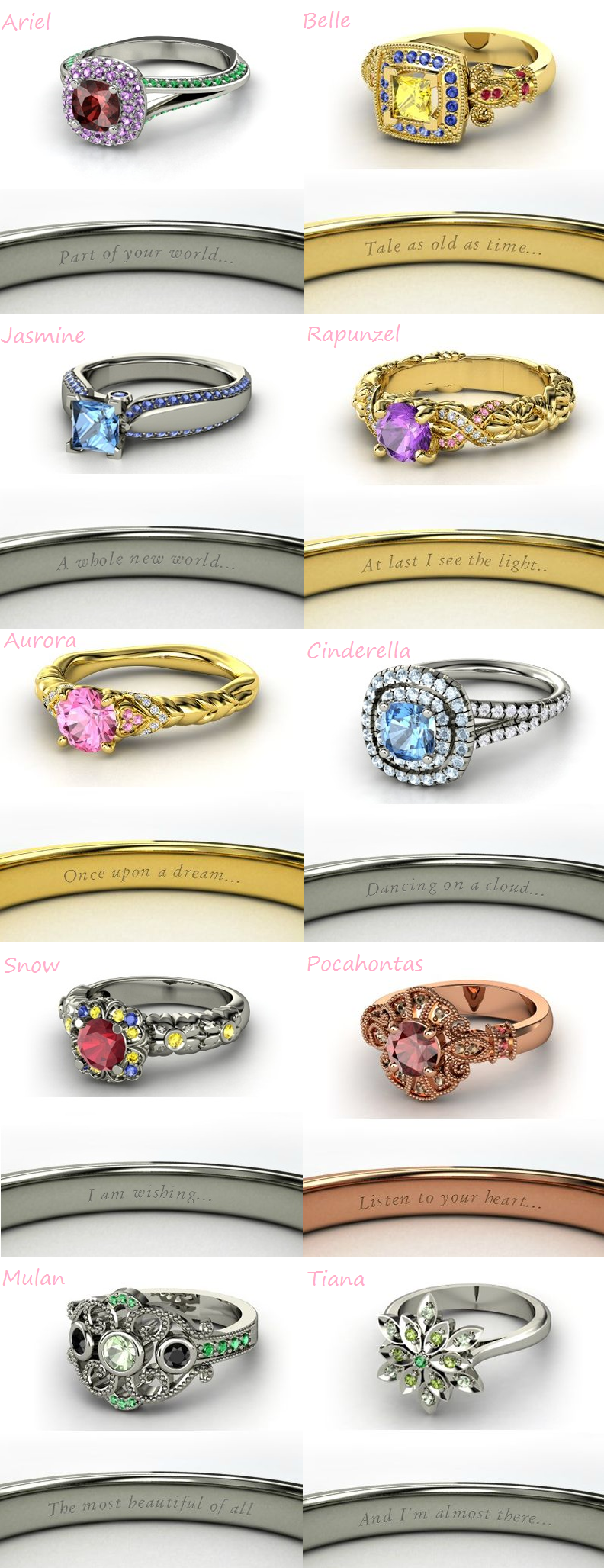 Merveilleux I Love Mulan And Cinderellau0027s Ring Disney Inspired Rings. I Want Tale Old  As Time On My Engagement Or Wedding Ring :) So Romantic
